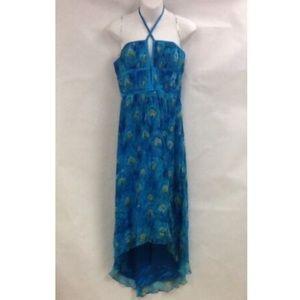 NEW Laundry Shelli Segal Blue Peacock Dress 6 Asym